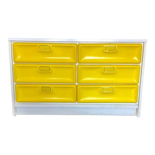 1970s Space Age Pop Modern Lemon Yellow Six Drawer Dresser For Sale