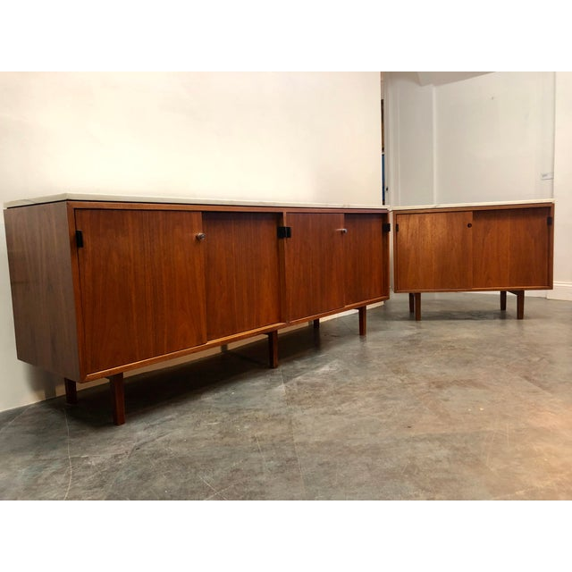 Mid-Century Modern 1960s Mid-Century Modern Florence Knoll Calcutta Marble Top Walnut Credenza Set- 2 Pieces For Sale - Image 3 of 13