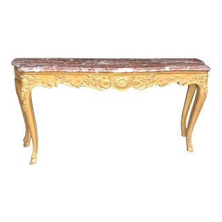 18th C. French Louis XV Carved Giltwood Marble Top Console Table For Sale