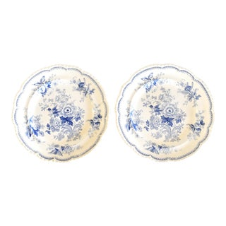 19th-Century Blue & White Asiatic Pheasant Woods Transferware Dinner Plates - a Pair For Sale