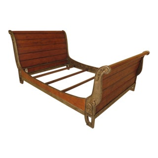 Century Iron & Maple Queen Size Sleigh Bed For Sale