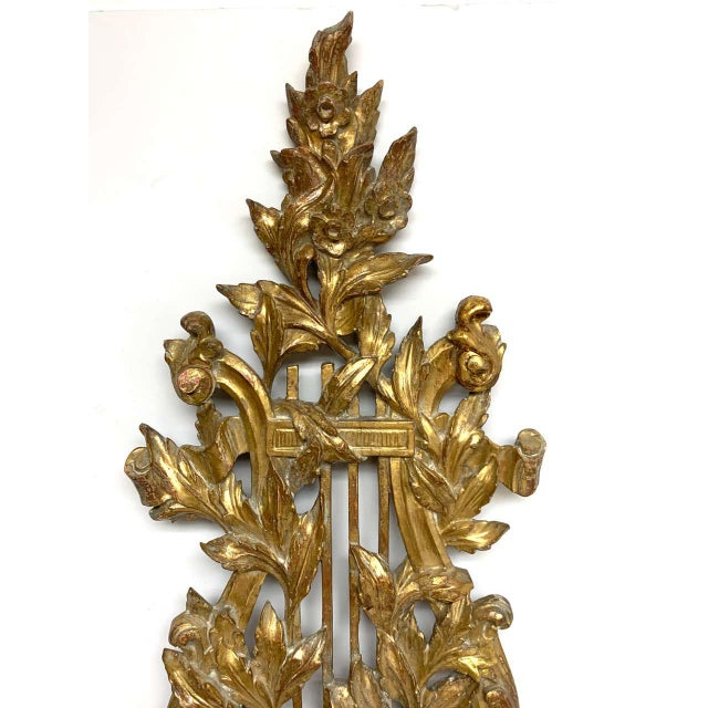 Pair of French Carved Giltwood Lyre Motif Three Light Wall Sconces For Sale In Atlanta - Image 6 of 10