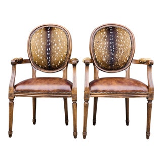 Modern Axis Hide Parlor Chairs- a Pair For Sale