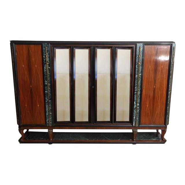 Italian Modern Palisander and Marble Bookcase, Attributed to Paolo Buffa For Sale