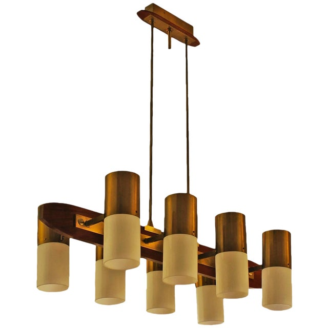 1960´s Chandelier 8 lights, solid teak, brass and plexiglass - Italy For Sale