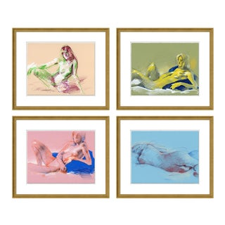 Figure Horitzontal, Set of 4 by David Orrin Smith in Gold Frame, Medium Art Print For Sale