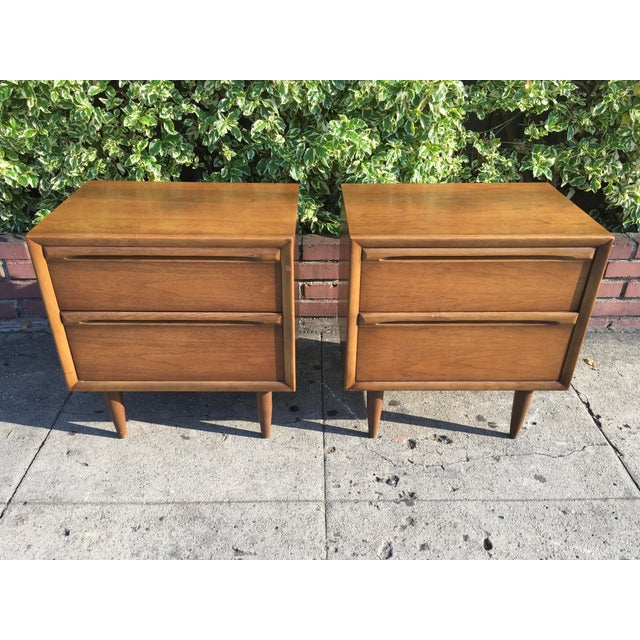 Mid-Century Modern Walnut Nightstands - A Pair - Image 2 of 6