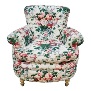 Upholstered Quilted Floral Chintz Down/Feather Cushion Plush Club Chair Armchair