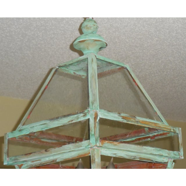 Four Sides Architectural Hanging Copper Lantern - Image 11 of 11