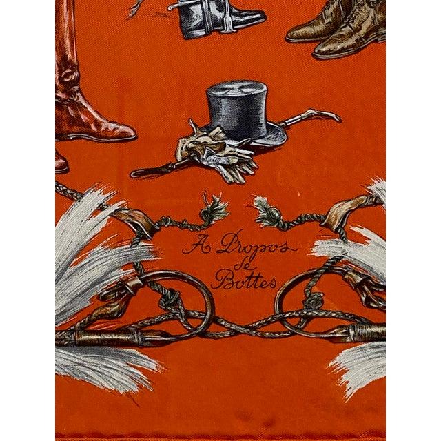 """Wood Framed Vintage Unused Hermès Silk Scarf """"Propos De Bottes"""" For Sale - Image 7 of 9"""