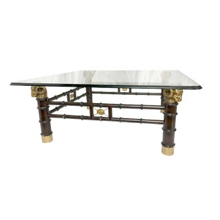 1960s Vintage Brass Ram's Head Faux Bamboo Coffee Table For Sale