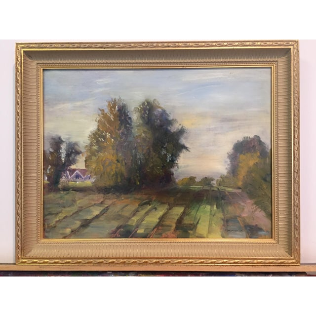 """Marina Movshina oil painting of a view across the pasture with large trees. The painting measures 16"""" wide and 12"""" high...."""