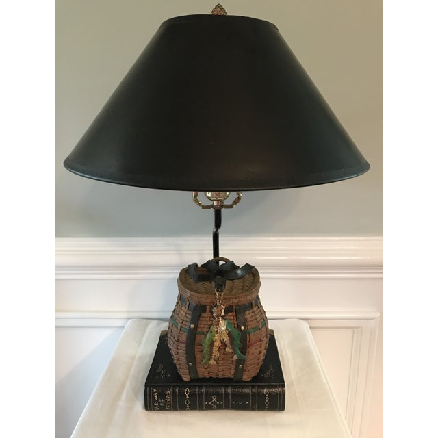 Gold Vintage Fishing Creel Table Lamp For Sale - Image 8 of 8