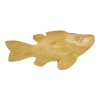 Artisan Carved Wood Fish Figurine For Sale
