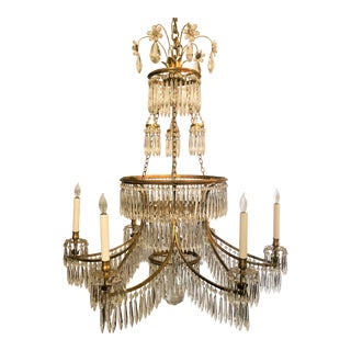 Estate Retro Northern European Crystal and Bronze Empire Chandelier. For Sale