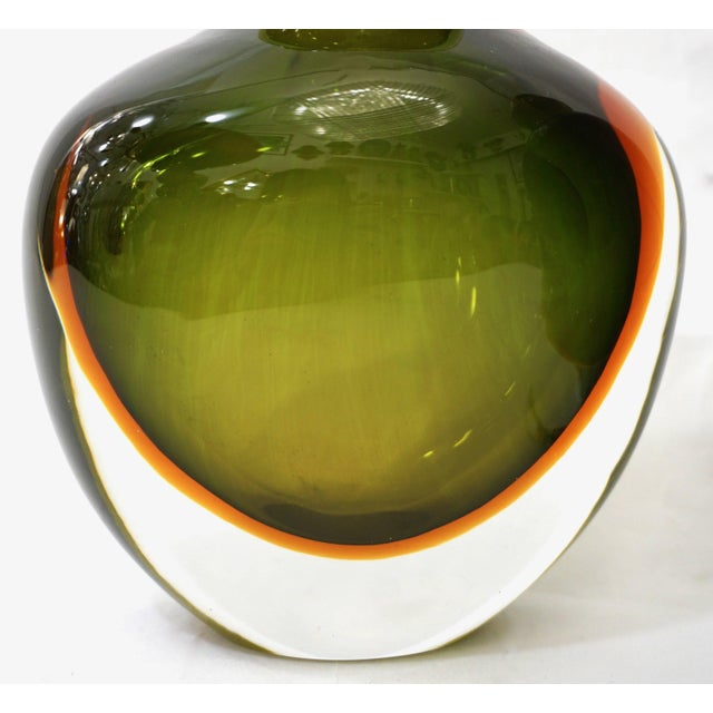 Glass Formia Modern Italian Ovoid Yellow Green Orange Murano Glass Bottles - a Pair For Sale - Image 7 of 11