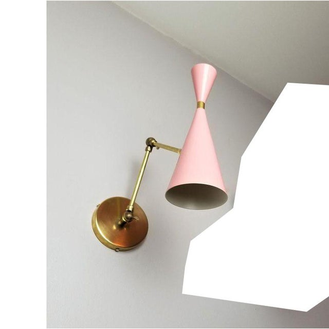 Brass & Pale Pink Enamel Italian Modern Lamp For Sale In New York - Image 6 of 6
