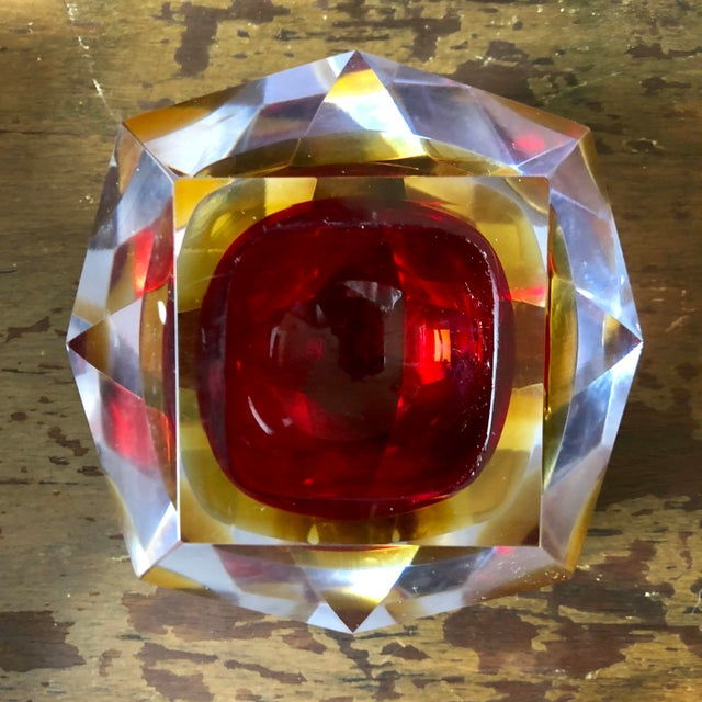 Mid-Century Modern Mid Century Mandruzzato Faceted Sommerso Murano Glass Bowl For Sale - Image 3 of 7