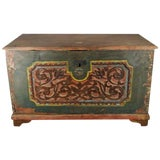 Image of Antique Indonesian Hand-Carved and Painted Trunk With Foliage's, 19th Century For Sale
