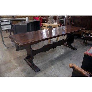 Italian Walnut Trestle Table With Designed Stretcher Preview