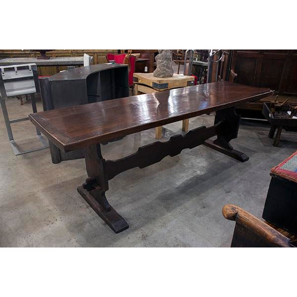Italian Walnut Trestle Table With Designed Stretcher