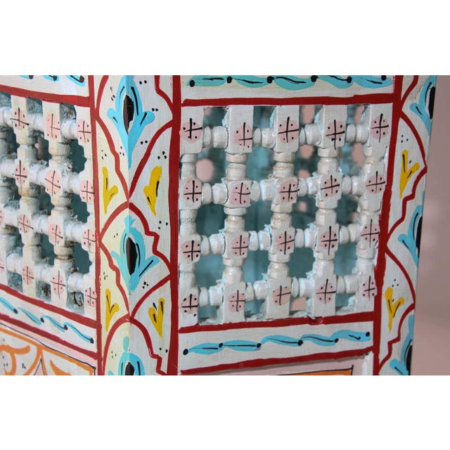 Moroccan Hand Painted Ivory Tables - a Pair For Sale - Image 12 of 13