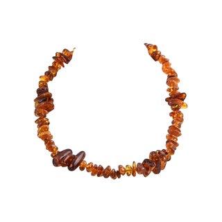 Naturalistic Baltic Honey Cognac Amber Necklace For Sale