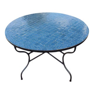 "Moroccan 48"" Round Tamegroute Blue Mosaic Coffee Table For Sale"