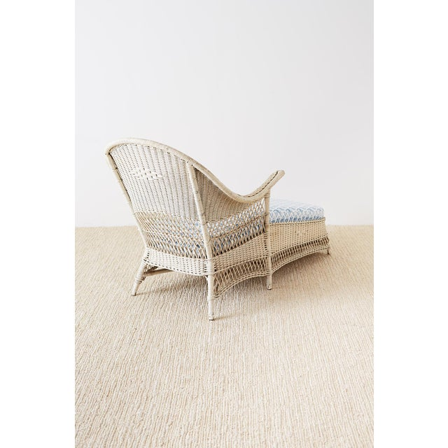 Early 20th Century Vintage Painted Bar Harbor Willow and Wicker Chaise Lounge For Sale - Image 11 of 13