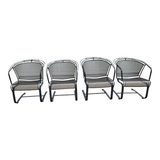 Vintage Woodard Wrought Iron Spring Base Barrel Chairs - Set of 4 For Sale