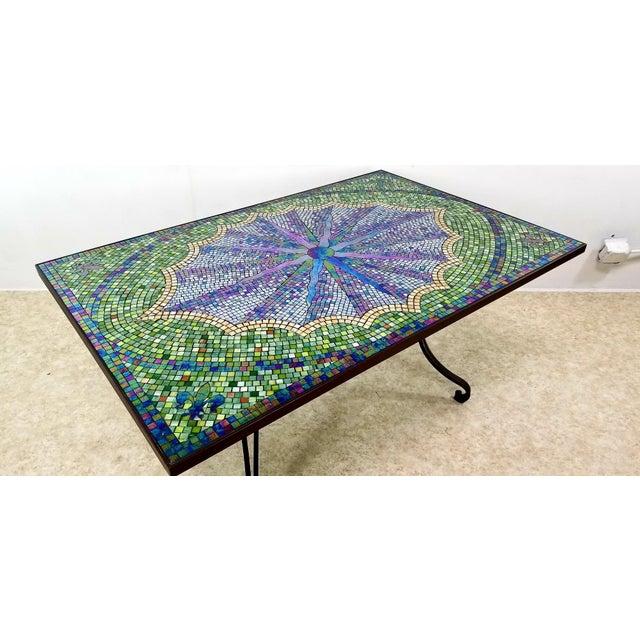 Boho Chic Mosaic Fleur-De-Lis Sunburst Tile Top Table For Sale - Image 9 of 13