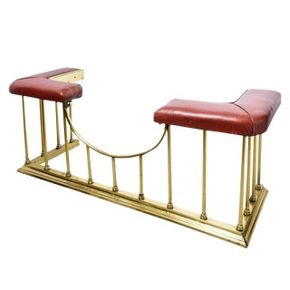 Brass and Red Leather Fireplace Surround For Sale