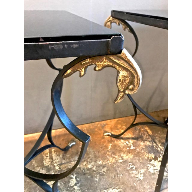Pair Art Deco Forged Iron and Brass Side Tables For Sale In Los Angeles - Image 6 of 10