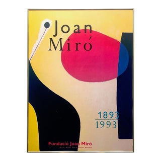 Joan Miro Fundacio Rare Vintage 1993 Lithograph Print Framed Collector's Modernist Centennial Exhibition Poster For Sale