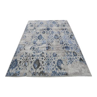 Transitional Wool Loom-Engineered Gray and Blue Rug - 7'9''x 9'9'' For Sale