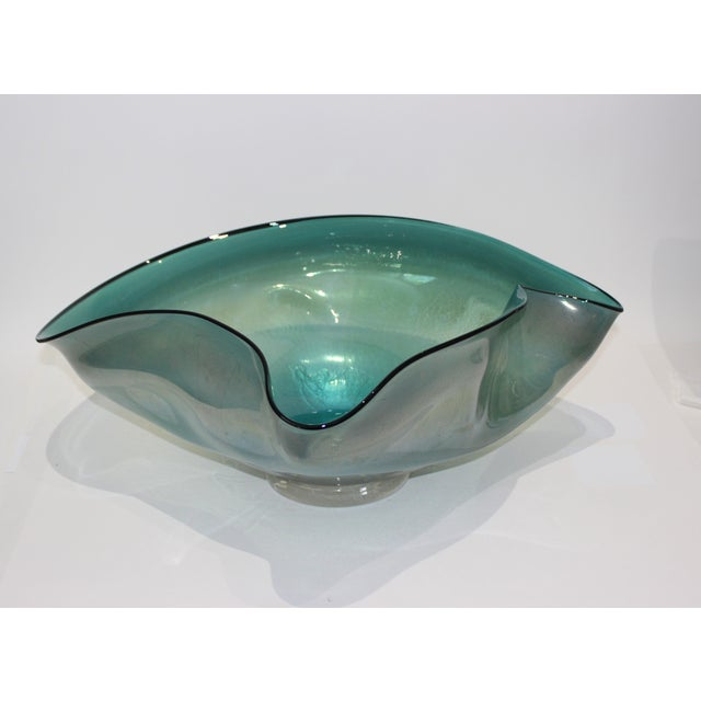 Artisan Glass Biomorphic Form Bowl Silver Flecks