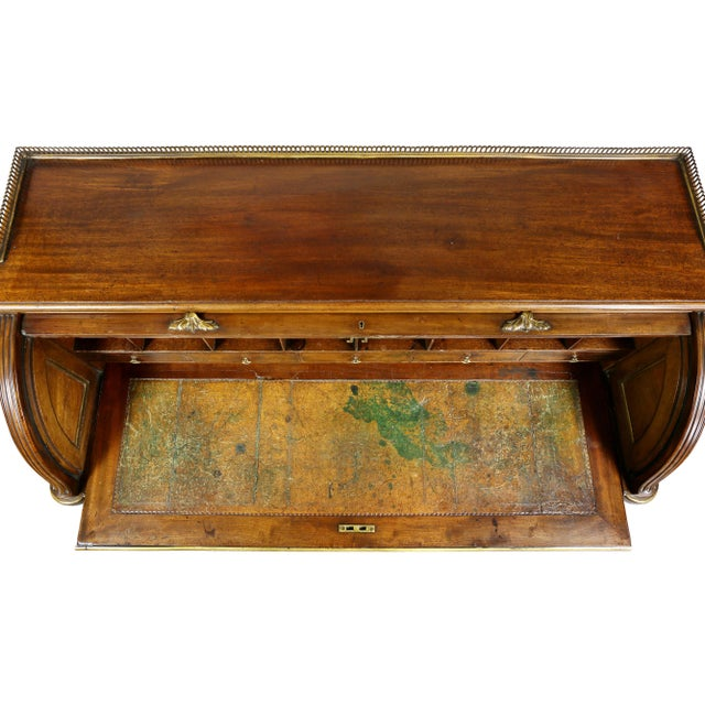 Directoire Style Mahogany and Brass Mounted Cylinder Desk For Sale In Boston - Image 6 of 13