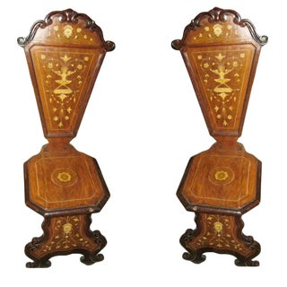 19th C. Italian Inlaid Walnut Side Chairs - a Pair For Sale