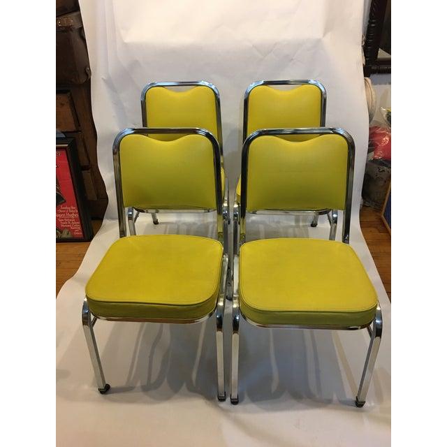 Mid-Century Chrome & Vinyl Chairs- Set of 4 - Image 2 of 8