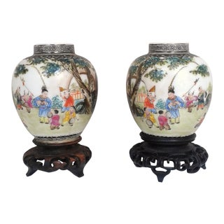 Antique Chinese Small Porcelain Vases - A Pair