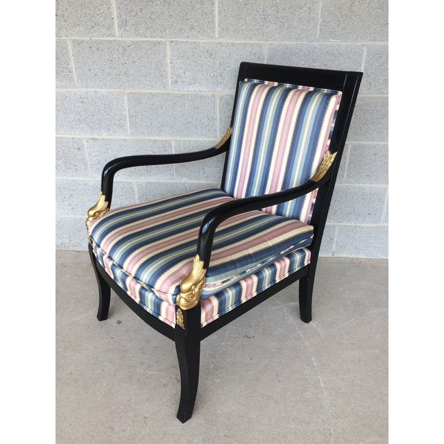 Ethan Allen Ethan Allen Dolphin Federal Black/Gold Trim Upholstered Arm Chair For Sale - Image 4 of 10