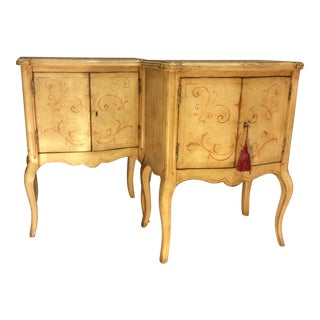 Italian Hollywood Regency Painted Commodes - a Pair
