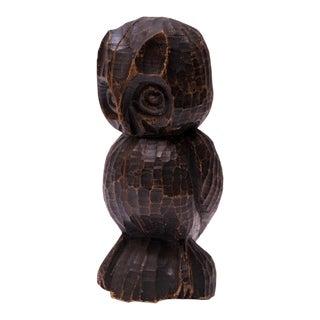 Large Vintage Hand-Carved Tree Stump Owl Sculpture For Sale