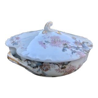 19th Century Antique Haviland Limoges Hand Painted Floral Tureen For Sale