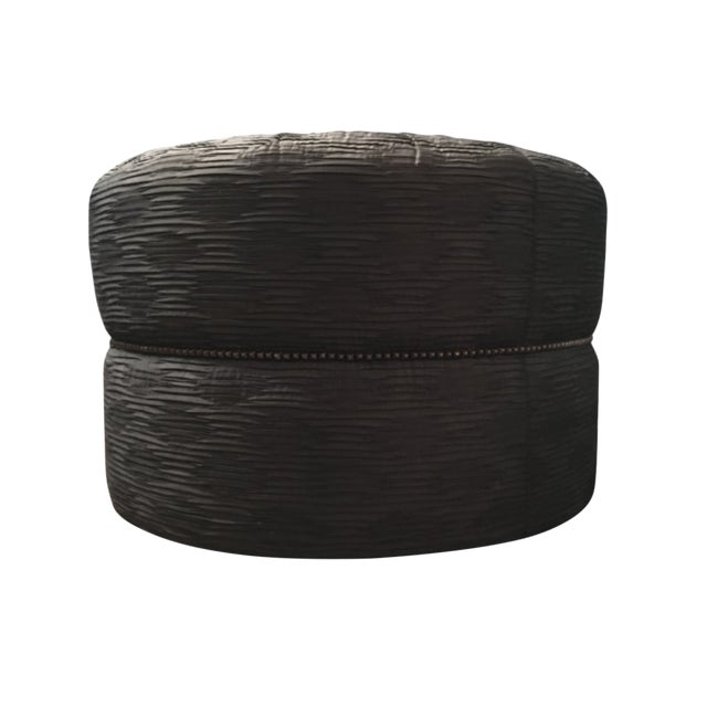 Modern Large Ottoman With Nail Head Trim For Sale
