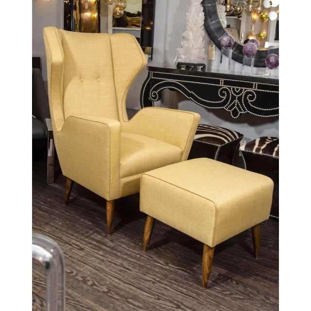 Custom Modernist Armchair and Ottoman For Sale - Image 10 of 10
