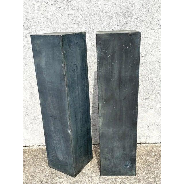 Mid 20th Century Pair of Industrial Verdigris Lead Columns For Sale - Image 5 of 9