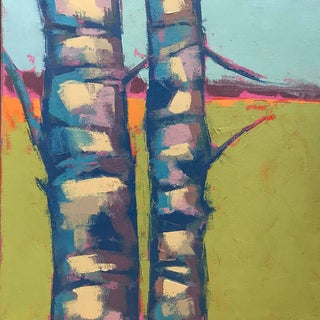 "Carrie Megan ""Birch Abstract #1"" Abstract Landscape Oil Painting For Sale"