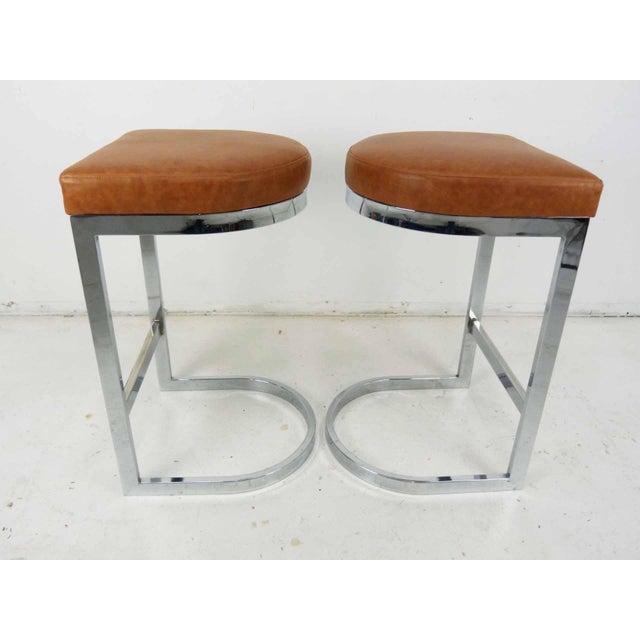Milo Baughman Style Flat Bar Chrome Cantilever Bar Stools - A Pair - Image 6 of 10