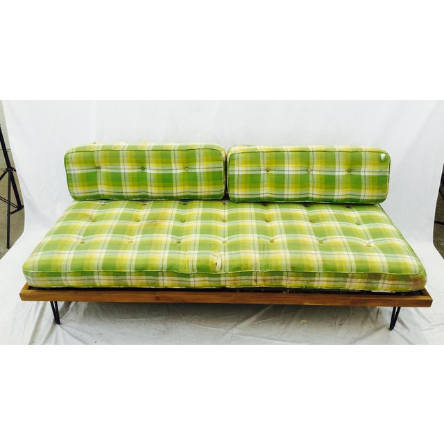 Mid-Century Madras Daybed with Metal Hairpin Legs - Image 3 of 6